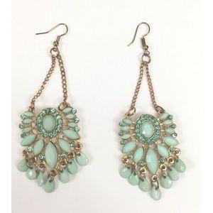 Jewelry - Beautiful Cyan Blue 4 Inch Dangle Earrings Vintage